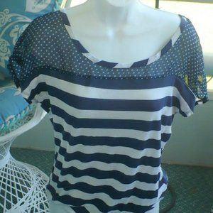 ❤️ Delia Top Navy Blue Stripe Knit Large